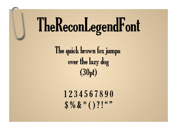 TheReconLegendFont