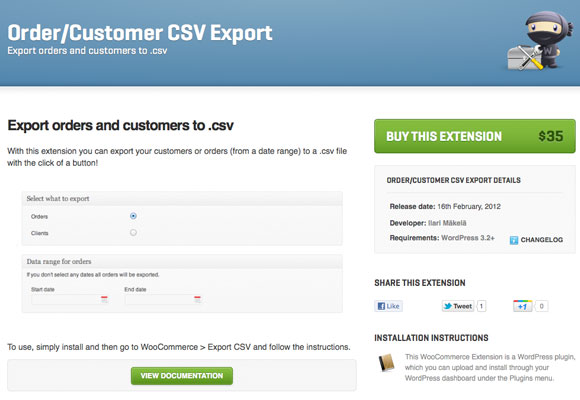 Order/Customer CSV Export