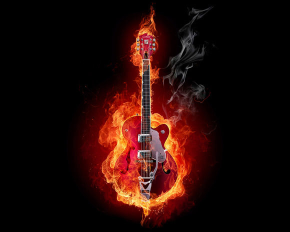 Electro Guitar in Fire