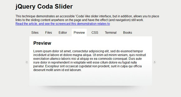 Coda Slider Effect