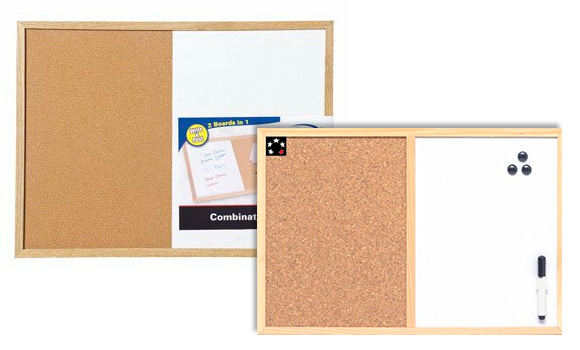 Dry Erase and Cork Combination Board
