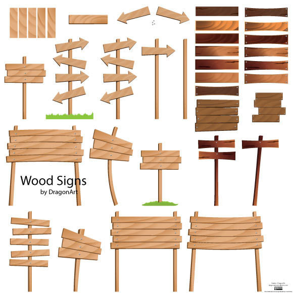 Wooden Signs Vector Set