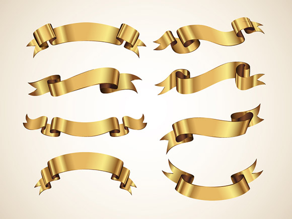 Golden Vector Ribbons Set