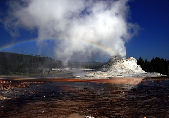 Castle Geyser Erupts a Rainbow