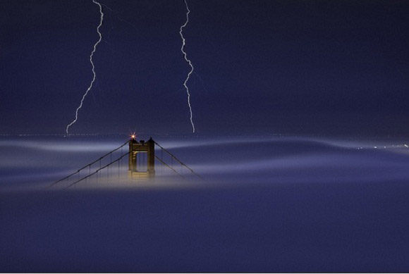 Golden Gate Bridge Lightning