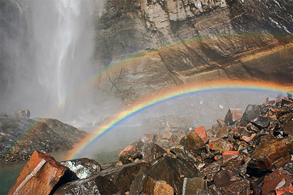 Rainbow at bottom of Waterfall
