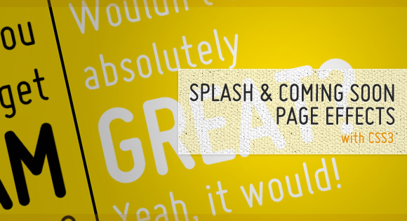 Splash and Coming Soon Page Effects