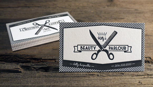 Kitty's Beauty Parlour Letterpress Business Cards