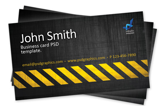 Business Card Template Construction Hazard Stripes Theme