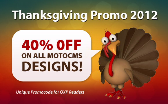 Thanksgiving Promo 2012 – 40% OFF on MotoCMS Designs