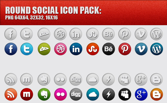 Freebies: Round Social Media Icons Pack