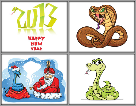 2013 Year of Snake Illustrations Vector