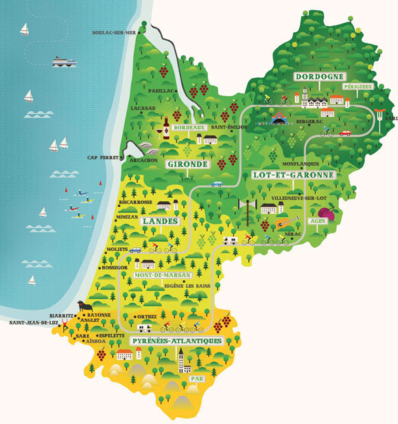 Aquitaine, France Map