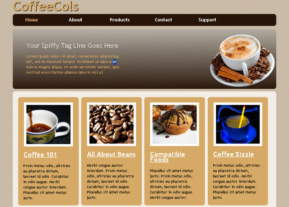 CoffeeCols HTML5 and CSS3 Multi-Column Magazine Style Template