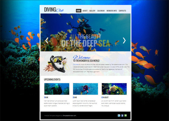 Website Template with jQuery Slider for Diving Club