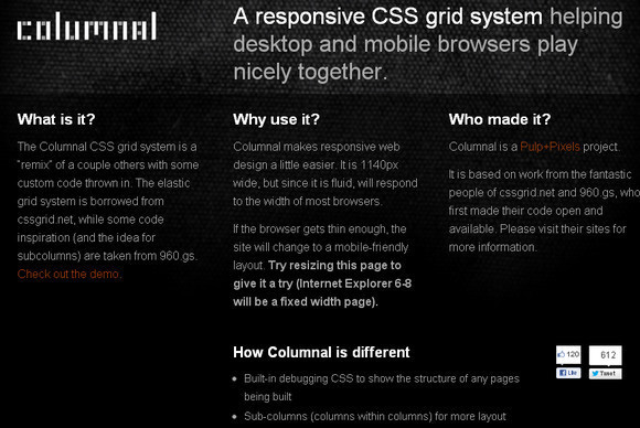 Columnal CSS Grid System
