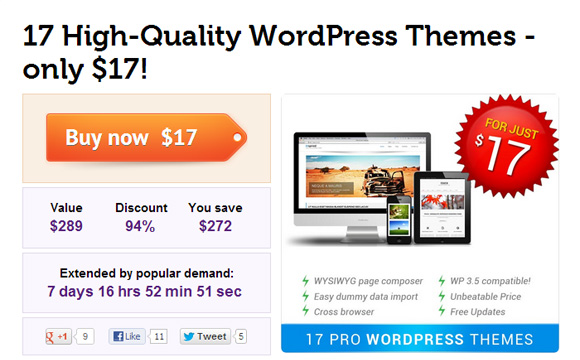 17 High Quality WordPress Themes by DXThemes for $17