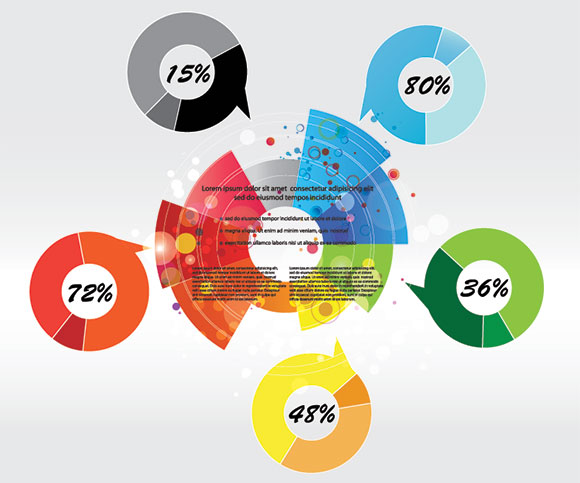 Vector Beautiful Callout Pie Chart Infographics