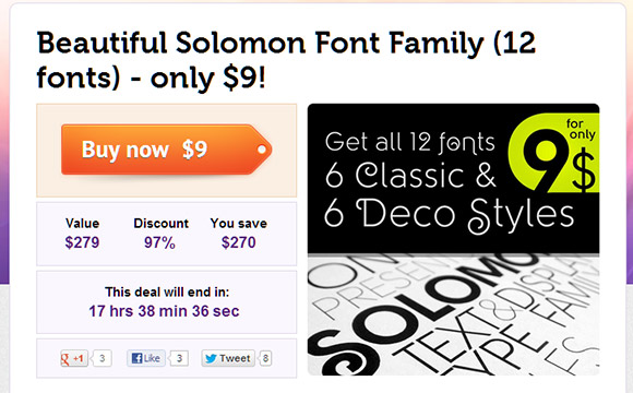 Own the Lovely Solomon Font Family for just $9