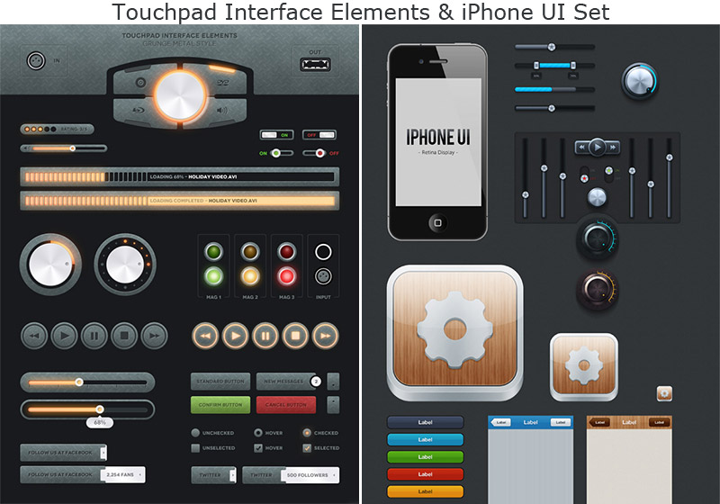 Touchpad and iPhone UI Sets