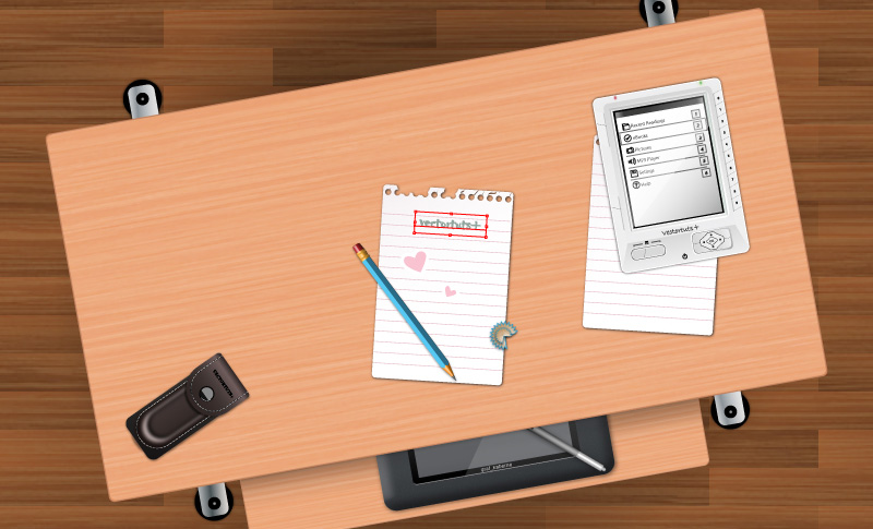 Create a Student's Desk in Top View Using Simple Shapes and Textures