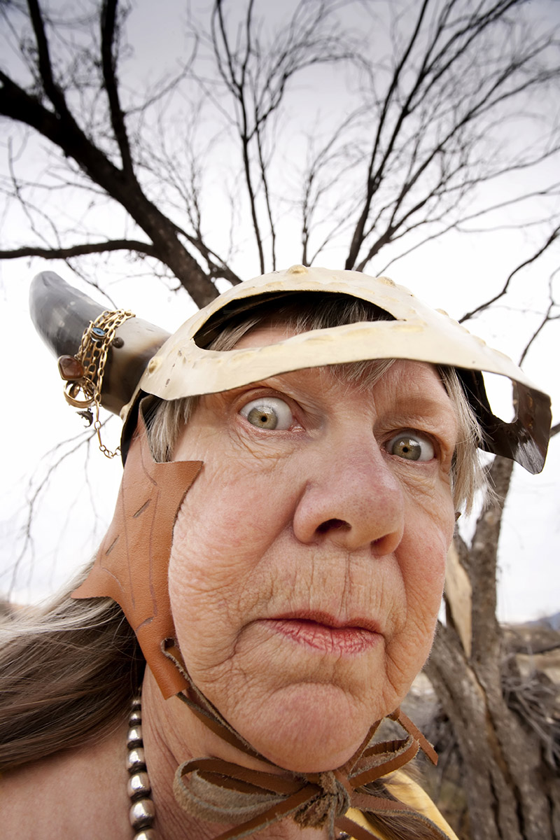 Crazy Old Woman Wearing a Viking Helmet