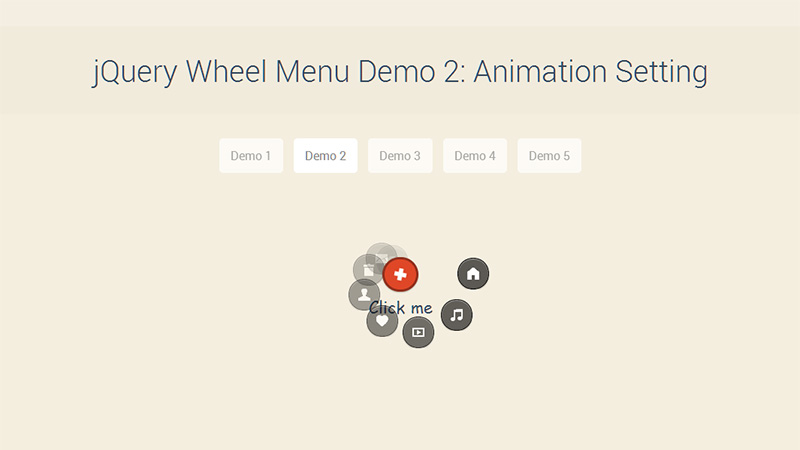 Wheel Menu Demo 2