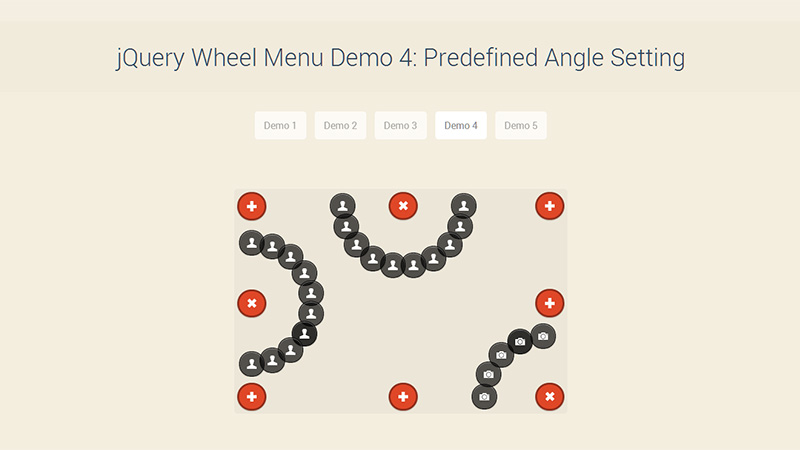 Wheel Menu Demo 4
