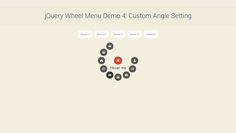 Wheel Menu Demo 5