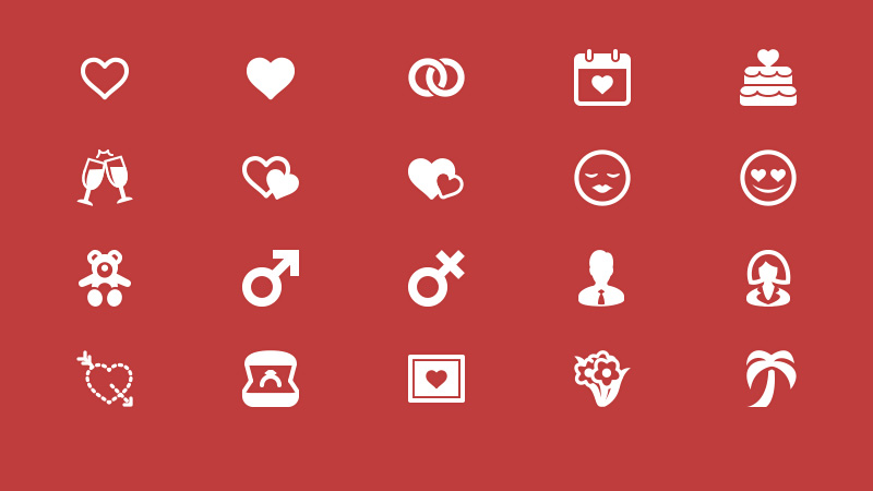 Elegant Love and Romance Glyph Icons