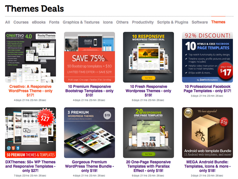 Web Templates and WordPress Themes Discount Deals