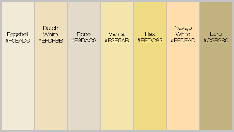 Yellow Shades anatomy of colors in web design: pure as snow white