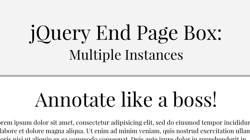 Displaying a Box at the End of the Page with jQuery End Page Box