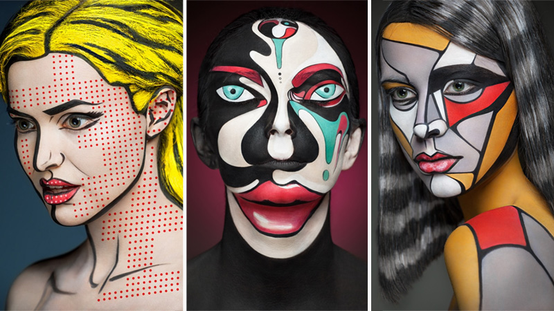 Intricate Make-Up Flattens Human Faces into Iconic 2D Art