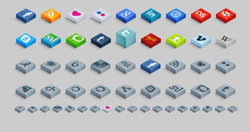 Isometric 3D Social Icons