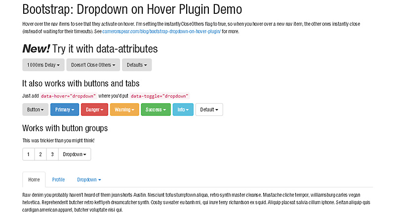 Bootstrap Hover Dropdown