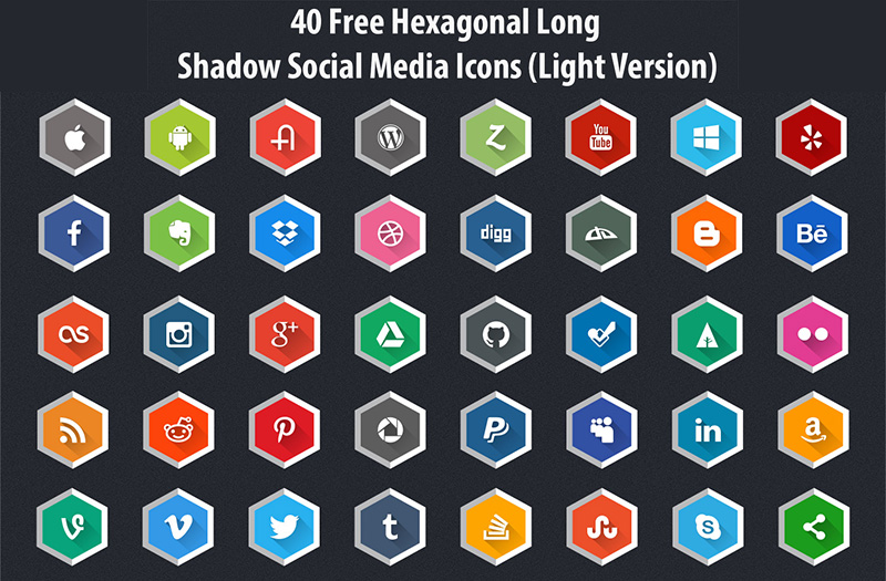 Hexagonal Long Shadow Social Media Icons