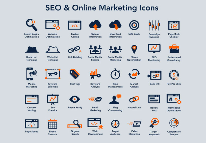 SEO & Online Marketing Icons