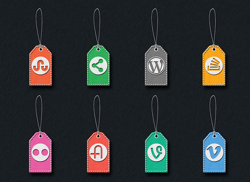 Stitched Social Media Tag Icons