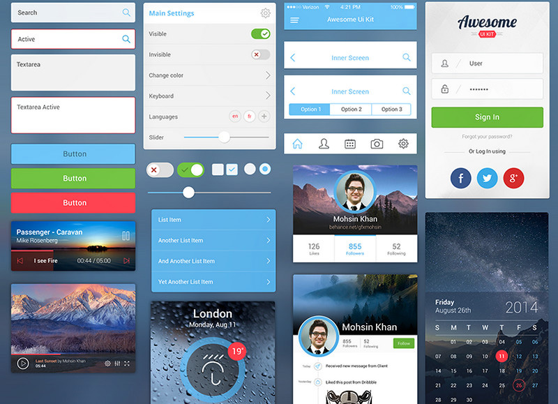 Awesome UI Kit for Mobile by Mohsin Khan