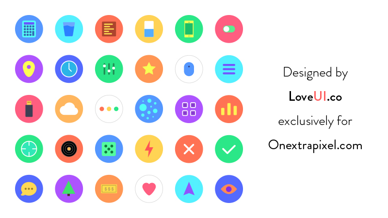 Freebie: Sunnycons - 30 Flat UI Icons For Sketch (PNGs Included)