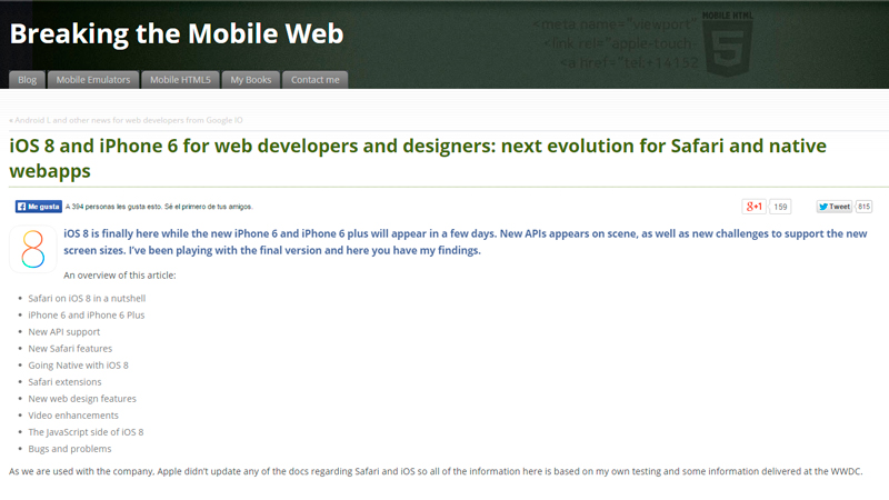 iOS8 and iPhone 6 for Web Developers and Designers