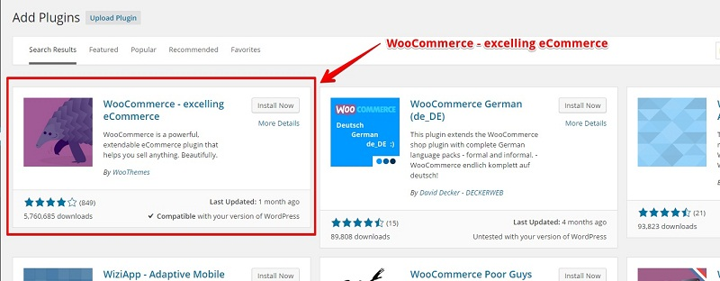 Install WooCommerce Plugin