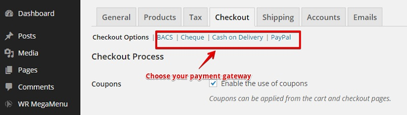 Edit Payment Gateways via Submenus