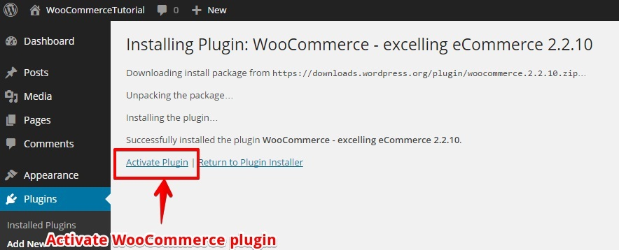 Activate WooCommerce Plugin