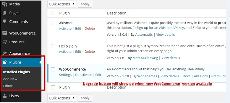 Upgrade WooCommerce