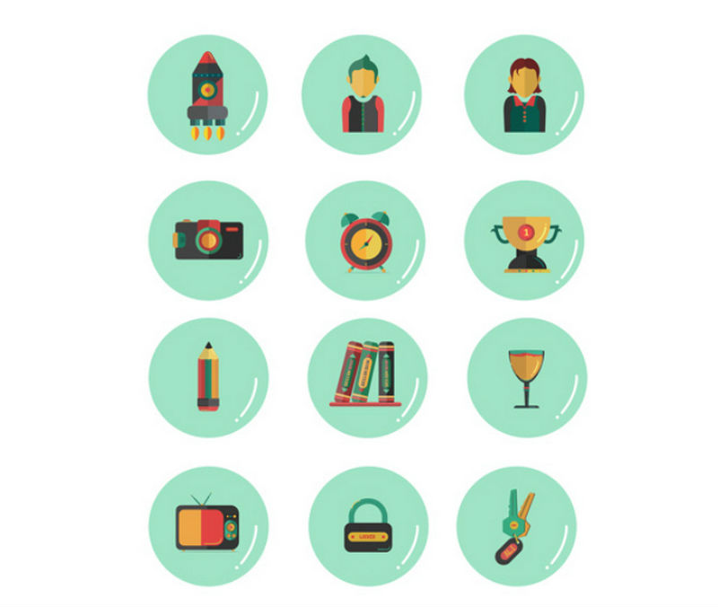 POLGON FREE FLAT ICONS SET by Ali Sabry