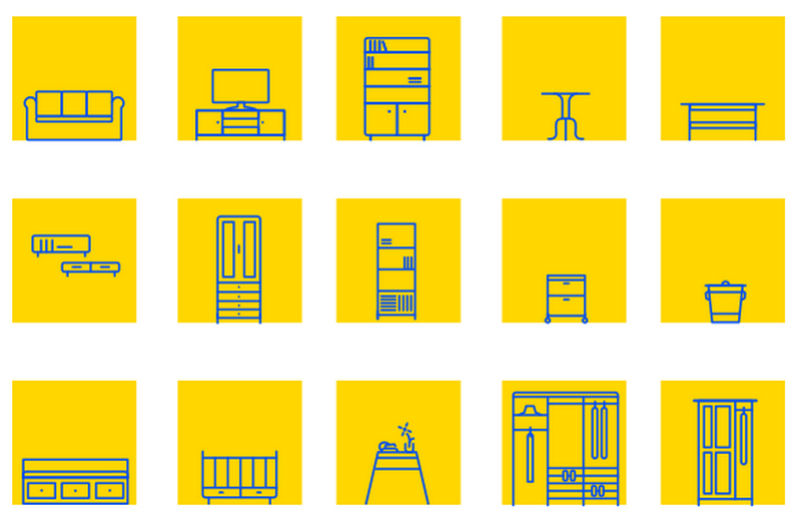 Ikea furniture icons set by John Lee