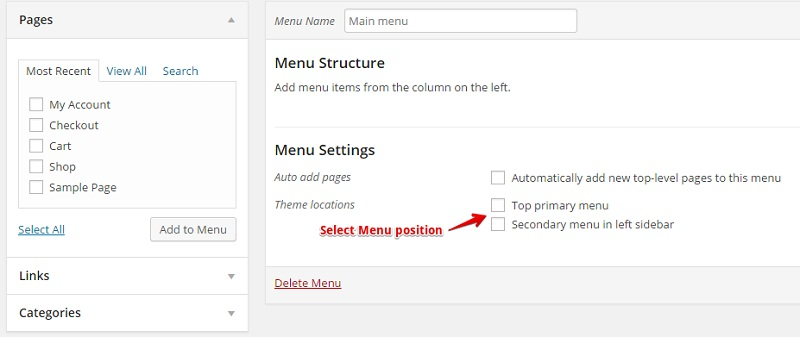 Select Menu Position