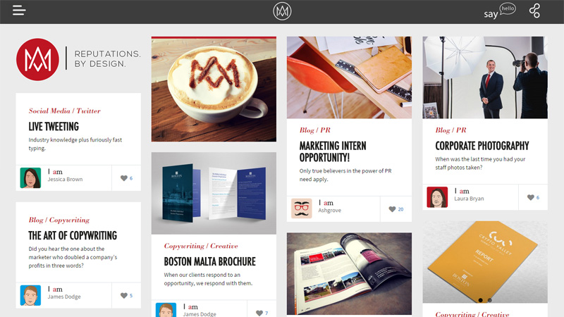 pinterest inspired cards based web design layouts